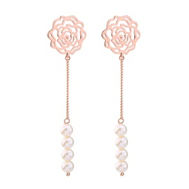 Hollow Out Flower Jack Chain Pearls Sweet Drop Earrings