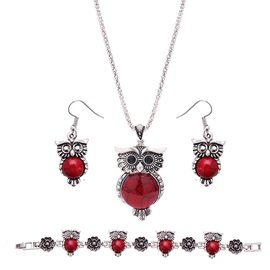 Red Stone Owl Beads Chain Silver Metal Vintage Two-Piece Jewelry Sets