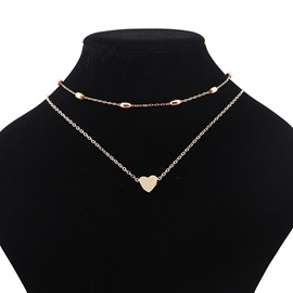 Heart Shaped Alloy Double Layer Sweet Choker Necklaces