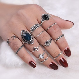 Oval Cut Royal Blue Stone Hollow Out Carving Flower Old Alloy Vintage Joint Knuckle Group Rings