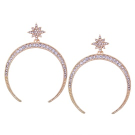 Snowflake Shaped & Rhinestone Inlaid Large Opened Annular Alloy European Hoop Earrings
