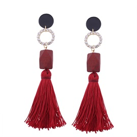 Resin Hollow Diamante Wooden Geometric Blocks Bohemian Long Tassel Earrings