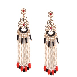 Hollow Flowered Colored Seed Beads Red Resin Balls Tassel Earrings