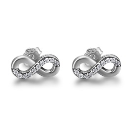 Eight Shaped Cross Diamante S925 Silver Stud Earrings