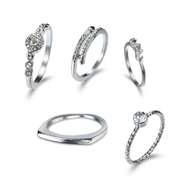 Hot Sale Diamante S925 Silver Joint Rings Sets
