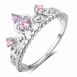 Princess Crown Shape Rhinestone Silver-Tone Alloy Prom Rings