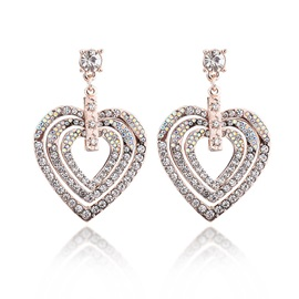 Three Layer Heart Shape Diamante Alloy Stud Earrings