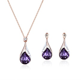 Water Drop Shape Crystal Stone Pendant Necklaces Jewelry Sets