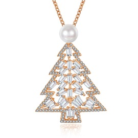 Christmas Tree Bronze Imitation Pearl Zircon Necklace