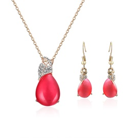 Water Drop Alloy Earrings Necklace Jewelry Sets