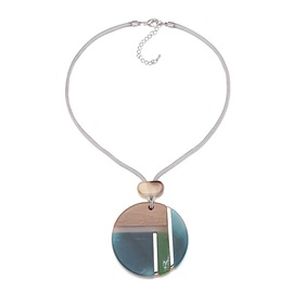Round Wax Rope Color Block Acrylic Necklace