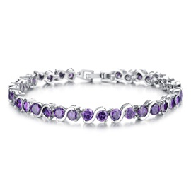 Copper White Gold Plated Ultra Violet Bracelet
