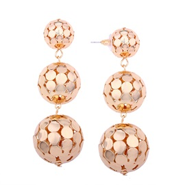 Hollow Drop Metallic Ball Decorated Drop Earrings