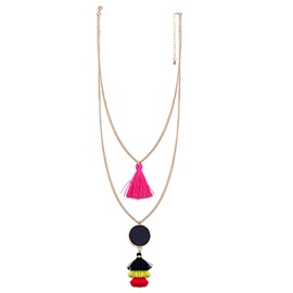 Bohemian Style Two Layers Tassel Pendant Necklace
