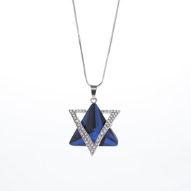 Asymmetric Geometric Pattern Artificial Crystal Gemmed Pendent Necklace