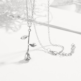 Valentine Gift Silver Rose Shape Pendant Necklace