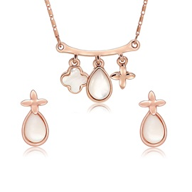 Water Drop Shape Pendent Necklace Earrings Jewelry Sets