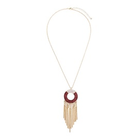 Retro Circle Wood Pattern Tassel Pendent Alloy Women Necklace