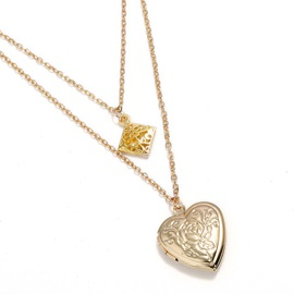 Heart-Shaped Pendent Metal Long Chain Necklace