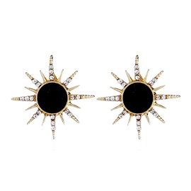 Sun Shape Imitation Diamond Stud Earrings