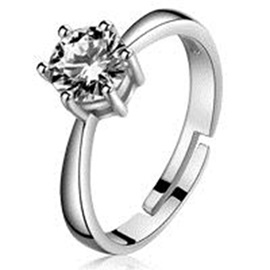 1CT Imitation Diamond with Eight Hearts & Eight Arrows Cut Wedding Ring