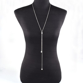 Simple Y Shape Pearl Inlaid Alloy Body Chain