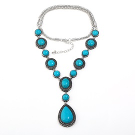 Water Drop Shape Turquoise Decorated Pendant Necklace