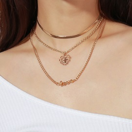 European Style Letter Decorated Cross Gold Layered Necklace