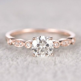 Concise Zircon Design Rose Gold Rings