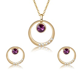 Hollow Sparkling Rhinestone Inlaid Necklace Earrings Jewelry Sets