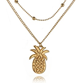 Bohemian Style Pineapple Shape Beach Holiday Necklace