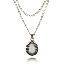 Water Drop Shape Gem Inlaid Pendant Necklace