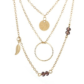 New Style Feather Shape Multi-layer Alloy Necklace