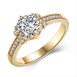 Round Zircon Inlaid Champagne Gold Copper-Plated Wedding Ring