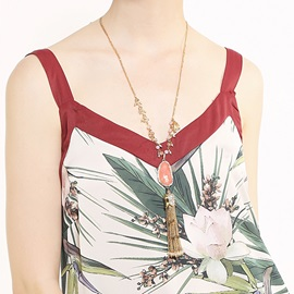 V Type Gem with Tassel Decorated Long Alloy Necklace
