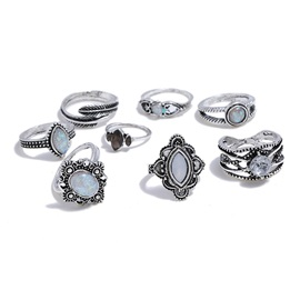 Gem Decorated Ethnic Pattern Carving Metal Joint Ring Set