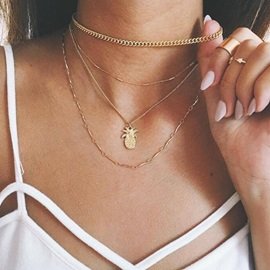 Pineapple Shape Pendant Metal Gold Layered Necklace