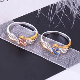 Ribbon Shape Two Tone Gem Decorated E-plating Prom Ring