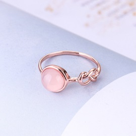Rose Gold Cat Eye Stone Figure-Eight Knot Design Wedding Ring