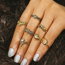 Sunflower Shape with Shell 7 Piece Vintage Rings Sets