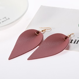 Hot Sale Leaf Shape Plain Imitation Leather Earrings