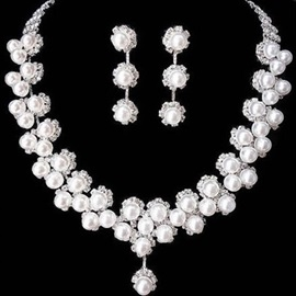 Elegant Pearl Double Layer Wedding Jewelry Sets