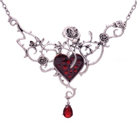 Gothic Red Heart Shape Halloween Pendant Necklace