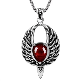 Ruby Inlaid Wing Shape Halloween Sweater Chain