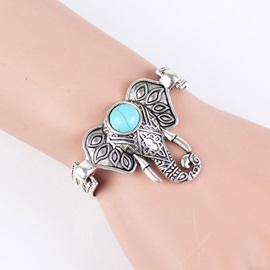 Elephant Shape Turquoise Decorated Ethnic Bracelets
