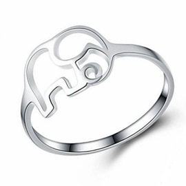 Hollow Out Elephant Shape Silver Plated Ring