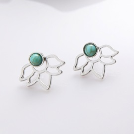 Hollow Out Leaf Shape Turquoise Stud Earrings