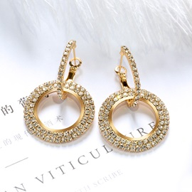 Bling Full Drill Circle Shape Elegant Lady Stud Earrings