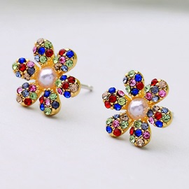Colored Floral Shape Bronze Stud Earrings