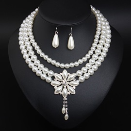Pearl Inlaid Necklace Plain Prom Jewelry online Sets